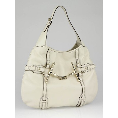 Gucci White Leather 85th Anniversary Bridal Bit Hobo Bag