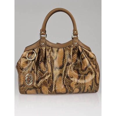Gucci Brown Python Medium Sukey Tote Bag