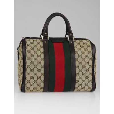 Gucci Beige/Ebony GG Canvas Vintage Web Medium Boston Bag