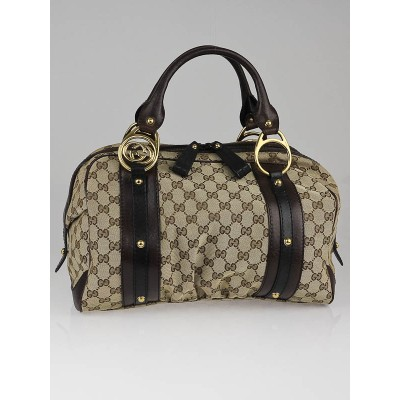 Gucci Beige/Ebony GG Canvas Large Interlocking G Doctor's Bag