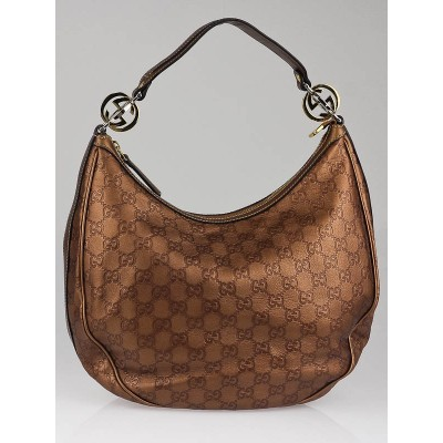 Gucci Bronze Guccissima Leather GG Twins Medium Hobo Bag