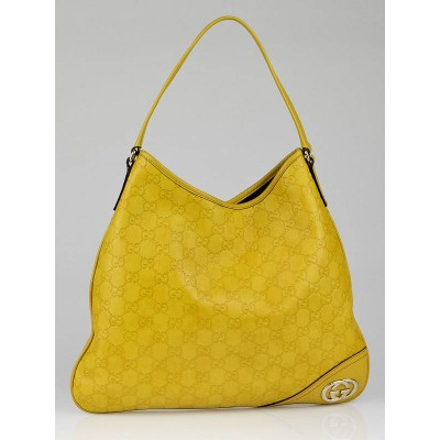 Gucci Yellow Guccissima Leather New Britt Hobo Bag