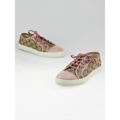 Gucci GG Canvas and Light Pink Suede California Low-Top Sneakers Size 6.5/37