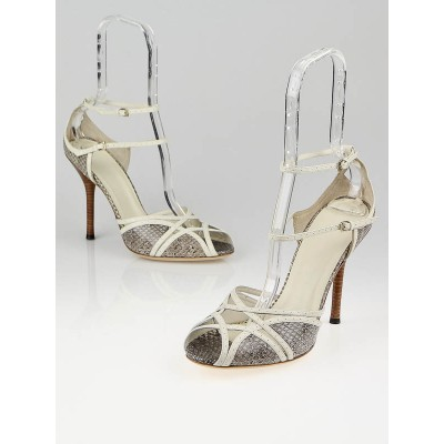 Gucci Grey Snakeskin and White Leather Peep Toe Ankle Strap Sandals Size 9.5C/40