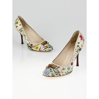 Gucci White Multicolor Floral Canvas Horsebit Pumps Size 9B/39.5