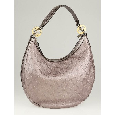 Gucci Light Purple Metallic Guccissima Leather Twin GG Medium Hobo Bag