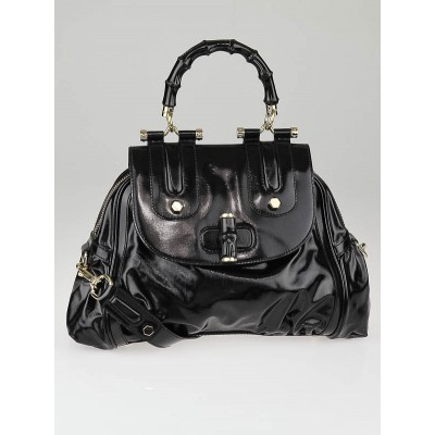 Gucci Black Dialux Coated Canvas 'Pop' Bamboo Top Handle Bag