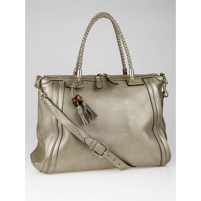Gucci Gold Pebbled Leather Bella Top Handle Bag