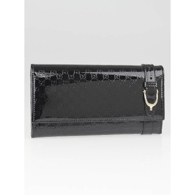 Gucci Black Microguccissima Embossed Patent Leather Spur Flap Wallet