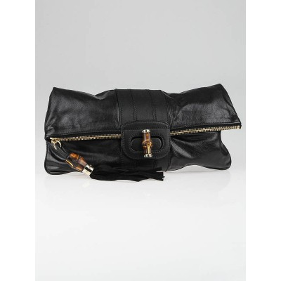 Gucci Black Leather Lucy Folded Clutch Bag