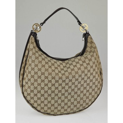 Gucci Beige/Ebony GG Canvas Twins Large Hobo Bag