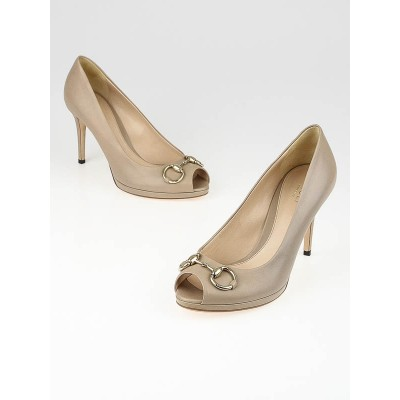 Gucci Taupe Beige Leather New Hollywood Mid-Heel Horsebit Pumps Size 8/38.5