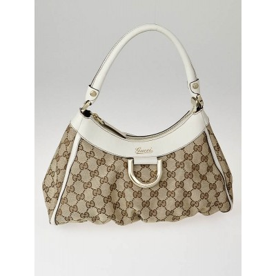 Gucci Beige/White GG Canvas Small D-Ring Hobo Bag