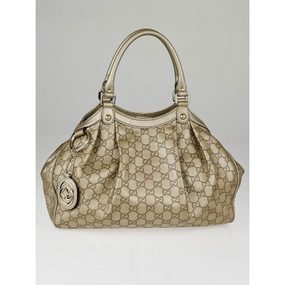 Gucci Beige Metallic Guccissima Leather Medium Sukey Tote Bag