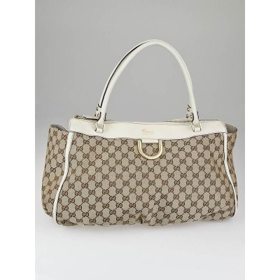 Gucci Beige/White GG Canvas Gold D Ring Hobo Bag