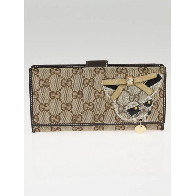 Gucci Beige/Ebony GG Canvas Zoo Long Continental Wallet