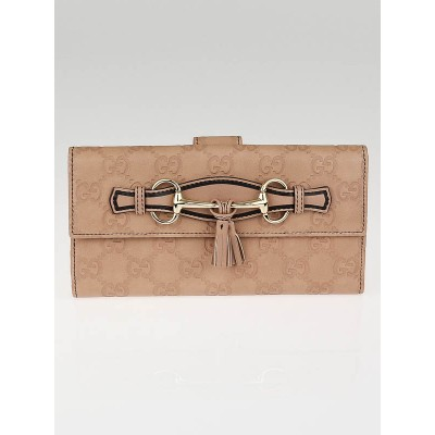 Gucci Pink Guccissima Leather Emily Long Wallet