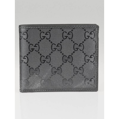 Gucci Metallic Grey GG Coated Canvas Bi-Fold Compact Wallet