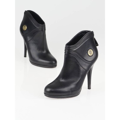 Gucci Black Leather Diana Ankle Booties Size 5.5B/36
