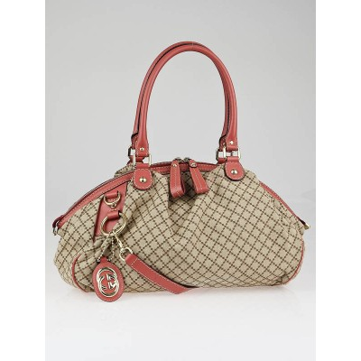 Gucci Beige Diamante Canvas Sukey Medium Boston Satchel Bag