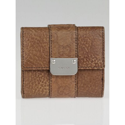 Gucci Brown Leather Compact Wallet