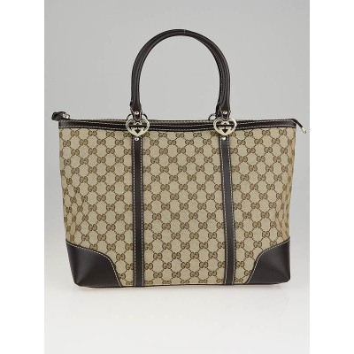 Gucci Beige/Ebony GG Canvas Lovely Heart-Shaped Interlocking G Medium Tote Bag