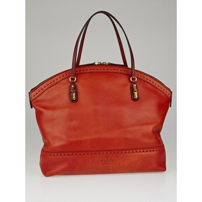 Gucci Orange Leather Laidback Crafty Top Handle Tote Bag