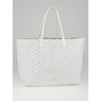 Goyard White Chevron Coated Canvas St. Louis PM Tote Bag