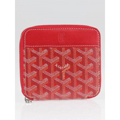 Goyard Red Chevron Print Coated Canvas Zippe PM Wallet
