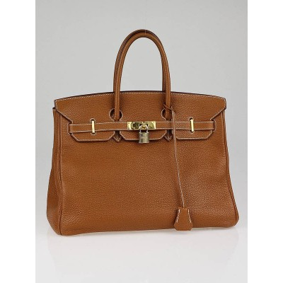 Hermes 35cm Gold Clemence Leather Gold Plated Birkin Bag