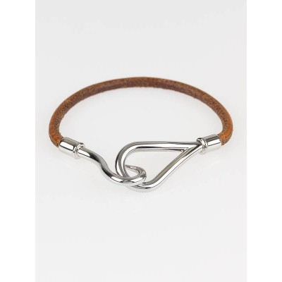 Hermes Brown Leather Jumbo Hook Bracelet