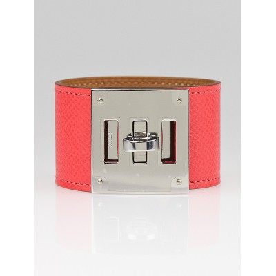 Hermes Rose Jaipur Epsom Leather Kelly Dog Bracelet