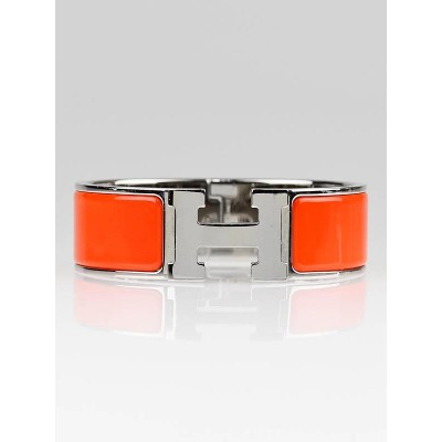 Hermes Orange Enamel and Palladium Wide H Clic-Clac Bracelet