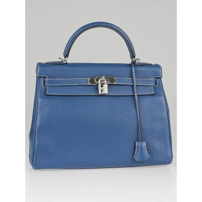 Hermes 32cm Blue Thalassa Clemence Leather Palladium Plated Kelly Retourne Bag