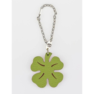 "Hermes Green Clemence Leather Four Leaf Clover ""Lucky"" Key Ring"