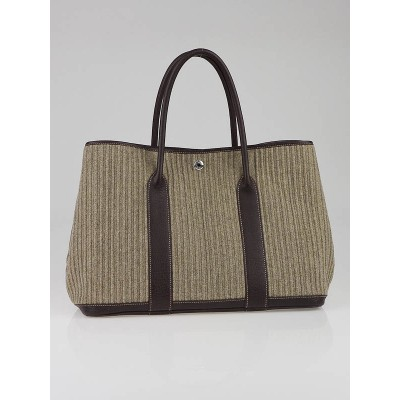 Hermes Taupe Wool and Buffalo Leather Garden Party  MM Tote Bag