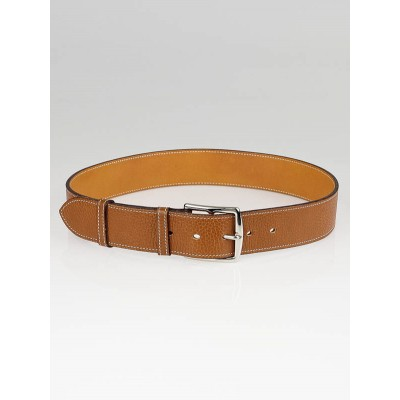 Hermes Gold Clemence Leather Etriviere 40 Belt Size 80