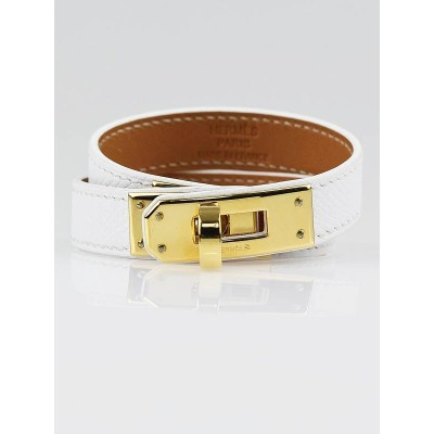 Hermes White Epsom Leather Gold Plated Hardware Kelly Double Tour Bracelet Size XS