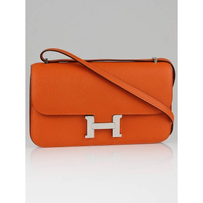 Hermes 24cm Orange Epsom Leather Constance Bag