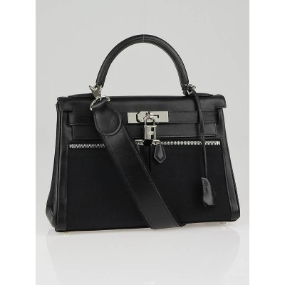 Hermes 28cm Black Swift Leather and Toile Palladium Plated Lakis Kelly Bag