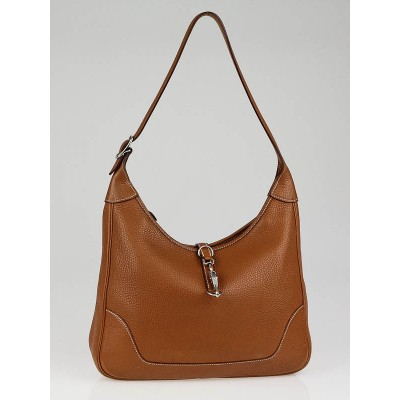 Hermes 31cm Gold Buffalo Leather Trim II Bag