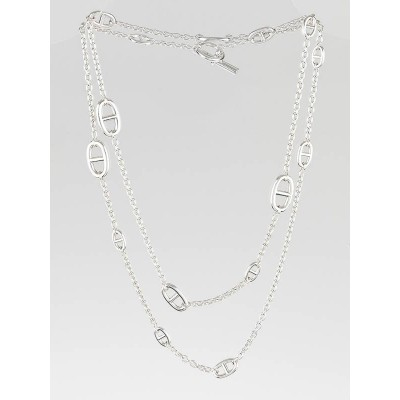 Hermes Sterling Silver Farandole 120 Long Necklace