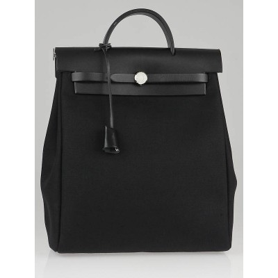 Hermes 30cm Black Canvas/Leather Herbag PM 2-in-1 Bag/Backpack