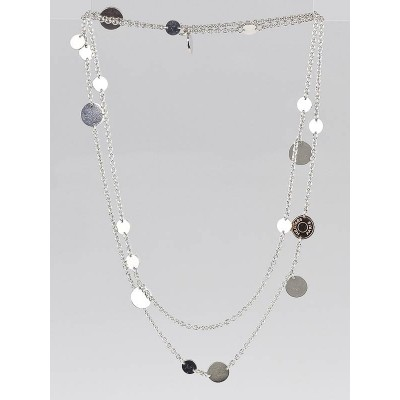 Hermes Sterling Silver and 18k Rose Gold Confettis Long Necklace