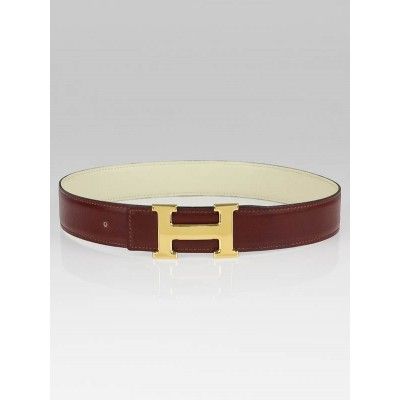 Hermes 32mm Burgundy/White Box Leather and Chocolate/Black Box Leather Constance H Belt Kit Size 65
