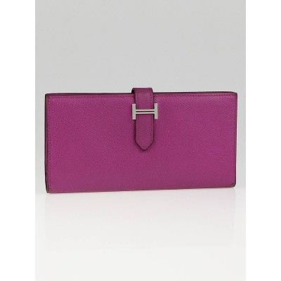 Hermes Cyclamen Epsom Leather Bearn Gusset Wallet