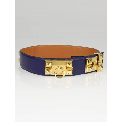Hermes Vintage Navy Box Leather Gold Plated Collier de Chien Belt Size 70