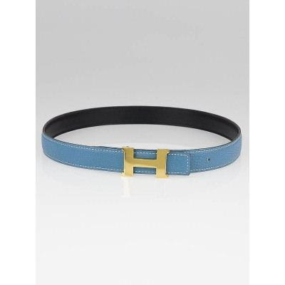 Hermes 24mm Blue Jean Togo/Black Box Leather Gold Plated Constance H Belt Size 70
