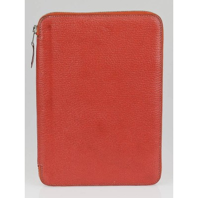 Hermes Rouge Vif Chevre Mysore Leather Globe Trotter Zip Agenda Cover