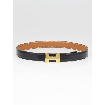Hermes 24mm Black Box Leather/Gold Courchevel Leather Gold Plated Constance H Belt Size 70